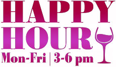 happy jhour Monday through Friday, 3-6pm