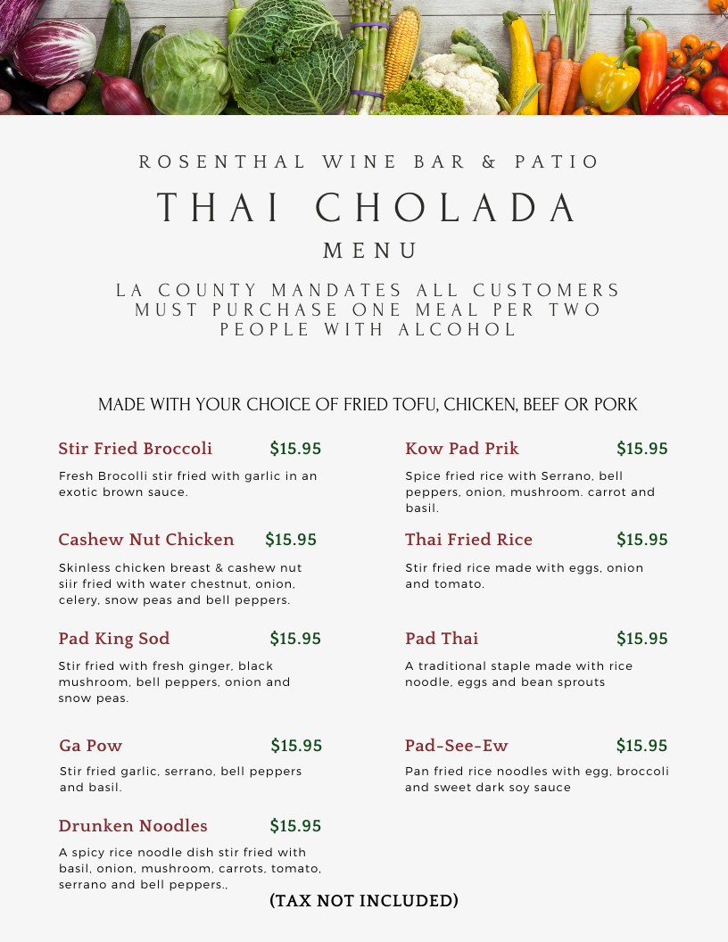 Thai Cholada menu